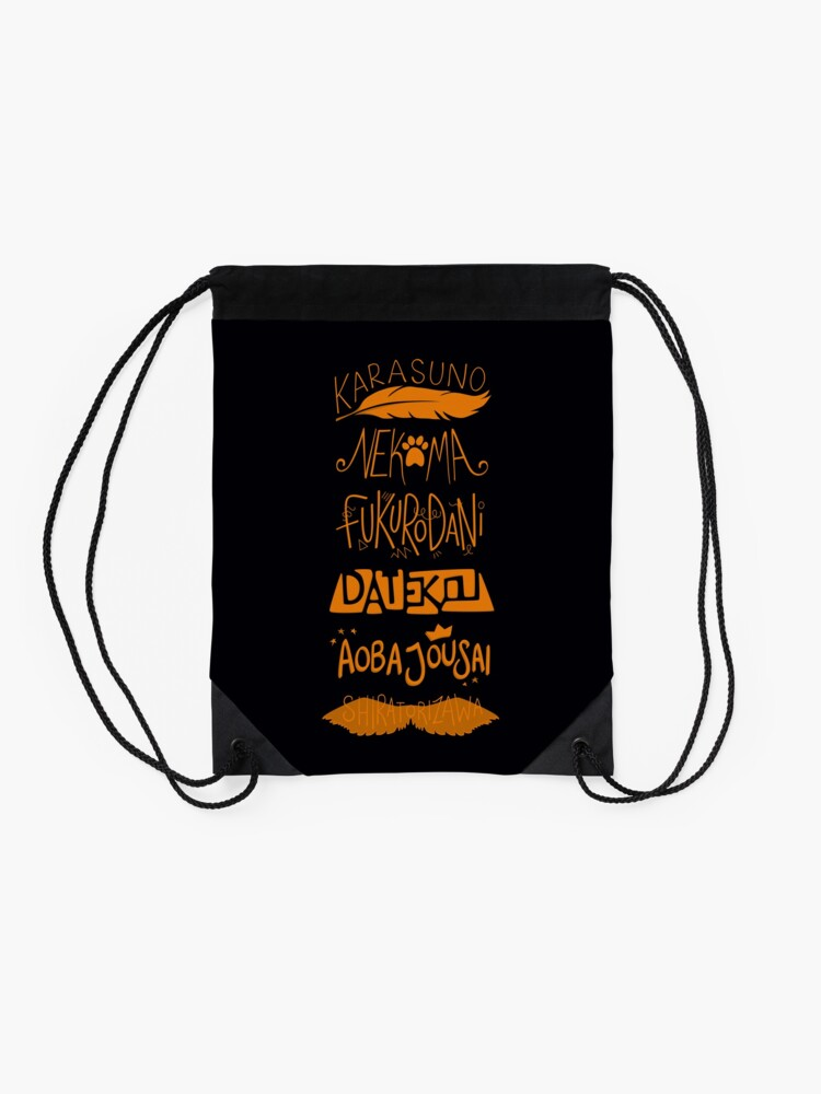 Alternate view of Haikyuu!! Teams - Karasuno Orange Drawstring Bag
