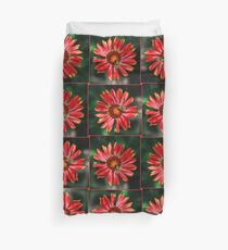 Bee on a red helenium Duvet Cover