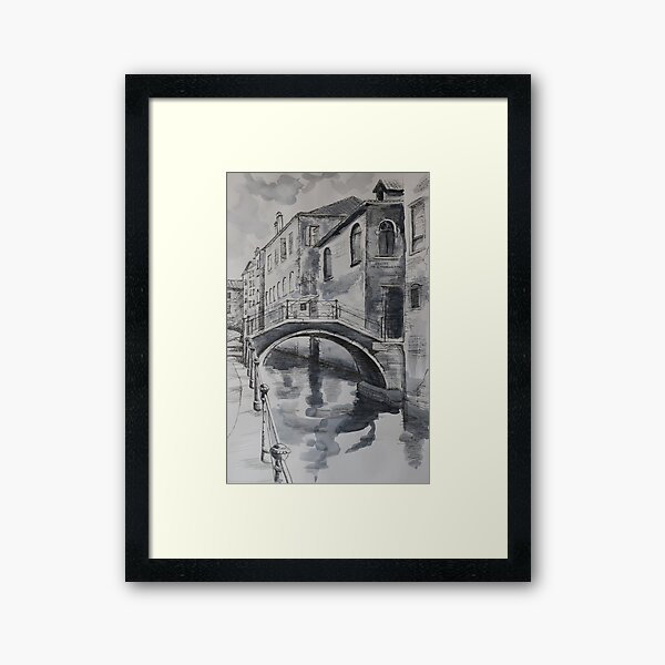 Venice scene in ink and watercolor Framed Art Print