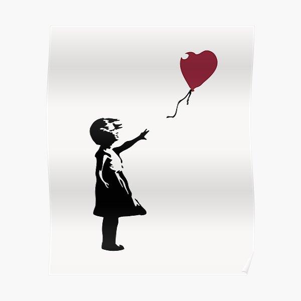Fille Avec Ballon Rouge, Banksy, Streetart Street Art, Grafitti, Oeuvre, Design Pour Hommes, Femmes, Enfants Poster