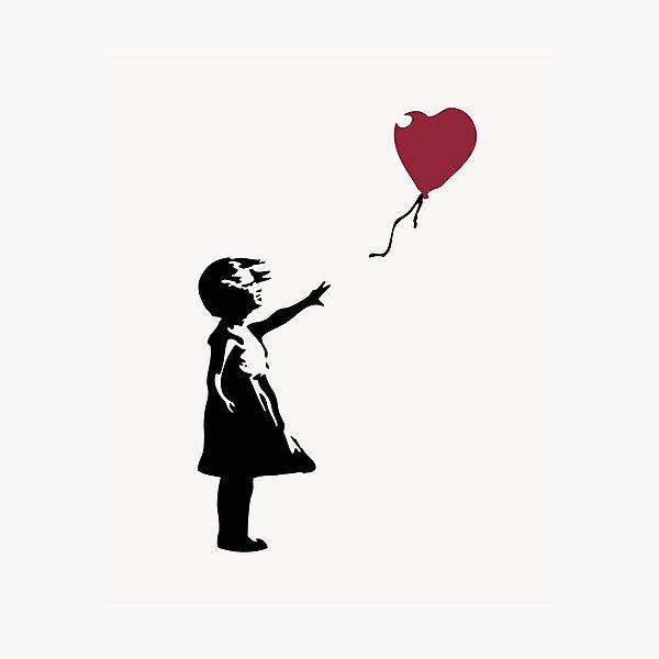 Niña con globo rojo, Banksy, Streetart Street Art, Grafitti, Obra de arte, Diseño para hombres, mujeres, niños Lámina fotográfica