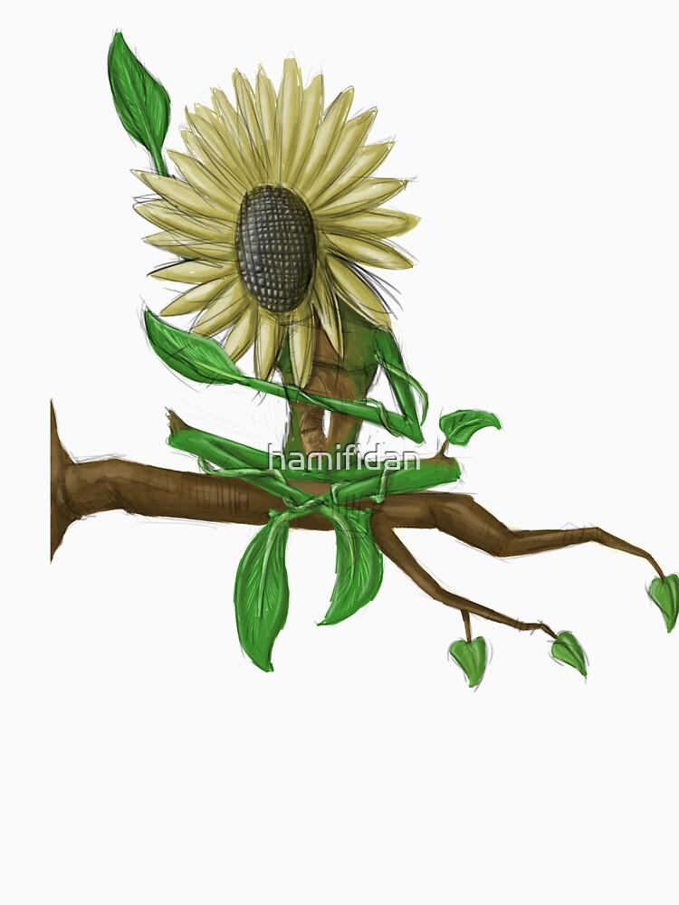 sunflower sunbathing on branch -tee by hamifidan