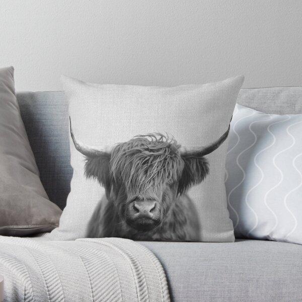 Highland Cow - Black & White Throw Pillow