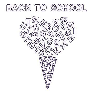 Back to school. Ice cream cone, letters, numbers. by aquamarine-p
