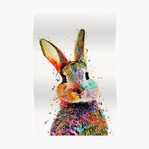 Rabbit Watercolor Art Work  Poster