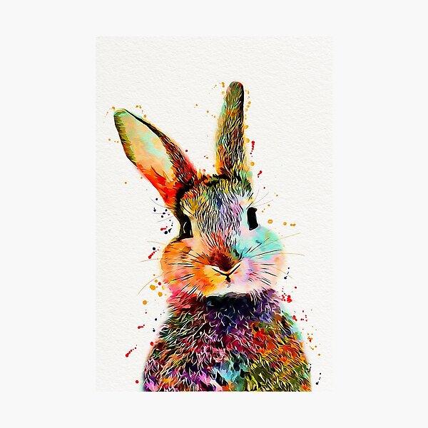 Rabbit Watercolor Art Work  Photographic Print