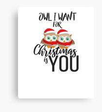Cute Owl Christmas T-Shirt Christmas Birthday Gift Tee Canvas Print