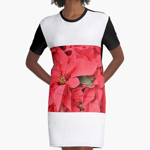 Grouping of Red Poinsettia Plants Graphic T-Shirt Dress