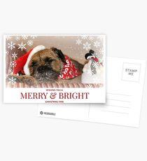 Border Terrier Christmas Card ~ Merry & Bright Postcards