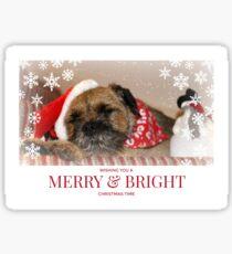 Border Terrier Christmas Card ~ Merry & Bright Sticker