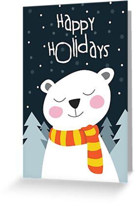 Bear Holiday Card by Jordi  Sabate