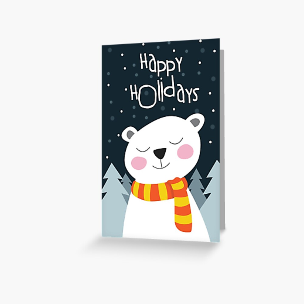 Cute Bear Holiday Christmas Card Greeting Card
