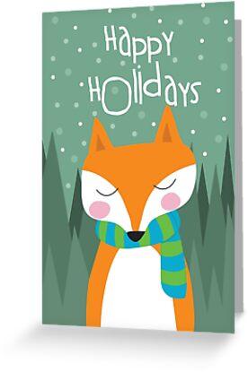 Fox Holiday Card by Jordi  Sabate