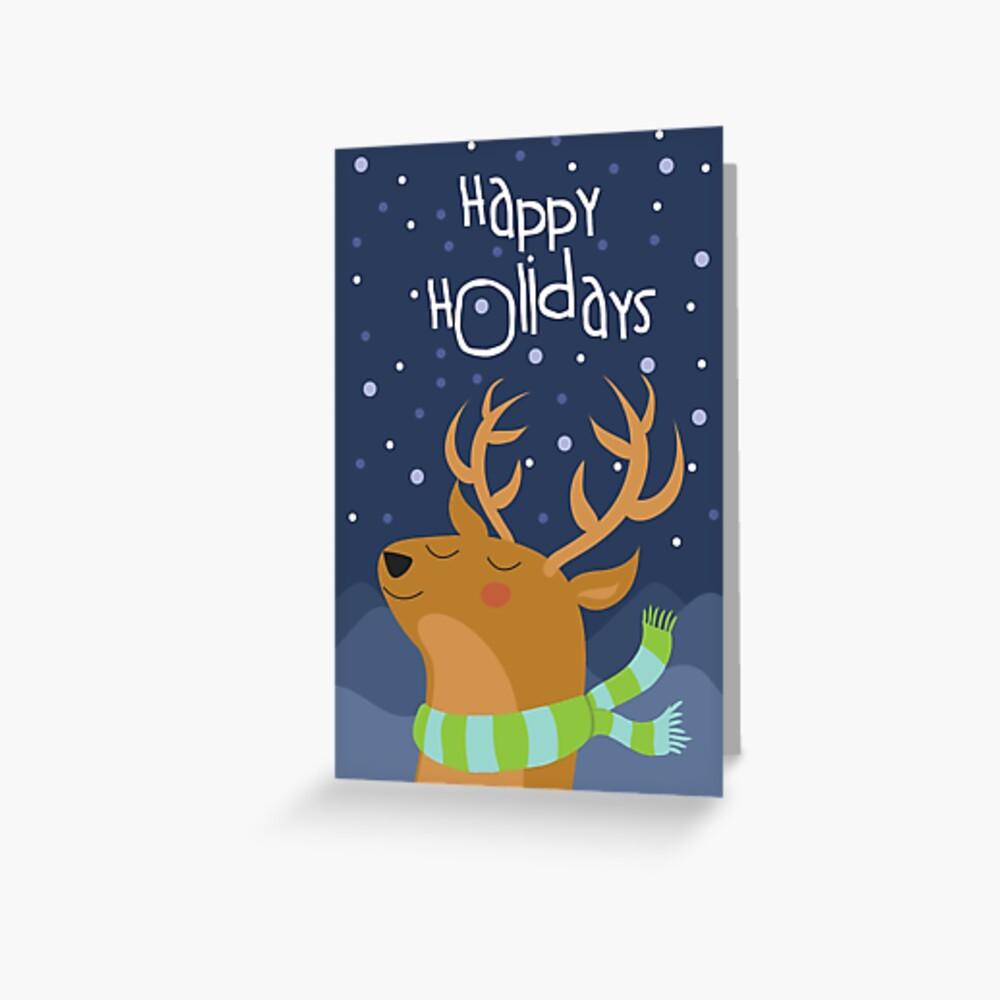 Cute Deer Holiday Christmas Card Greeting Card