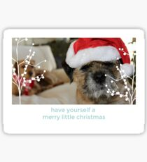 Border Terrier Christmas Card - Have Yourself A Merry Little Christmas Sticker