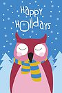 Owl Holiday Card by Jordi  Sabate
