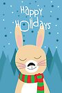 Rabbit Holiday card by Jordi  Sabate