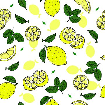 Pretty Lemons and Leaves Yellow and Green Pattern by HotHibiscus