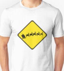 Caution- flying reindeer ahead Unisex T-Shirt