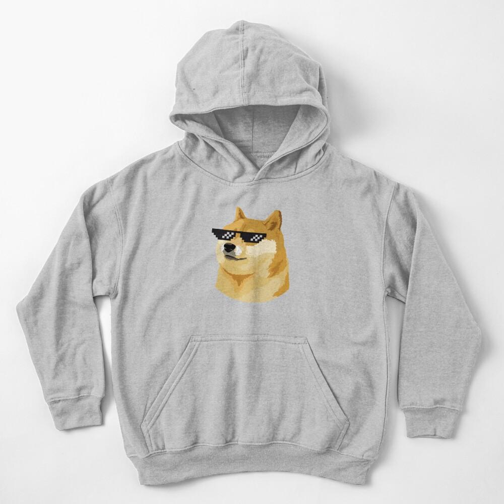 Doge Thug Life with sunglasses meme dog style Kekistan Shiba Inu #DogRight doggo Kids Pullover Hoodie