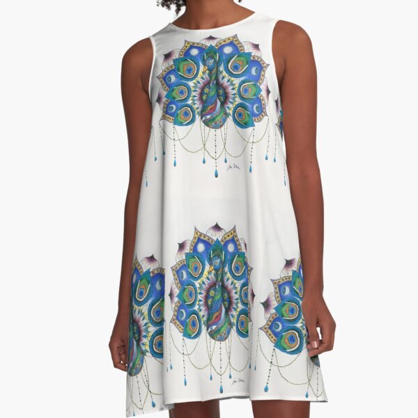 Peacock Mandala A-Line Dress