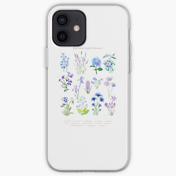 blue and purple  flower collection watercolor  iPhone Soft Case