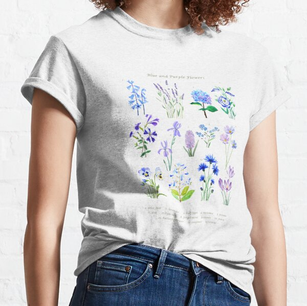 blue and purple  flower collection watercolor  Classic T-Shirt