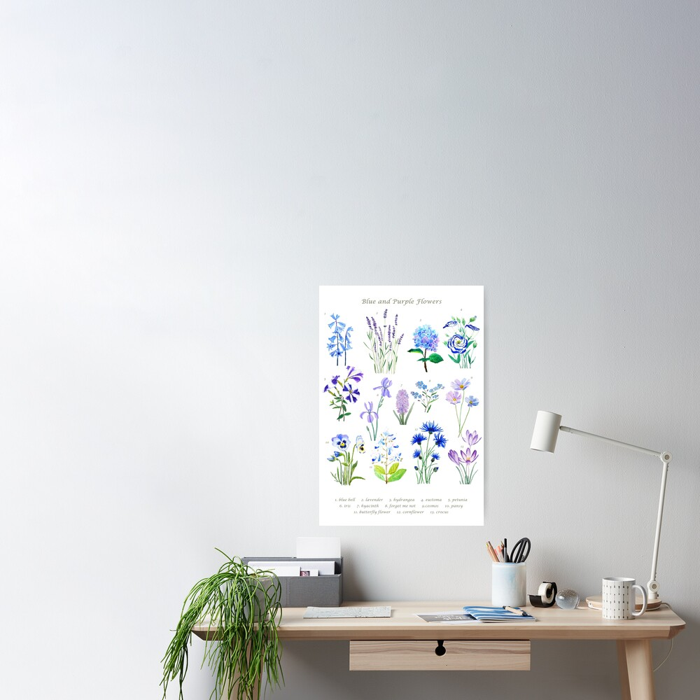 blue and purple  flower collection watercolor  Poster