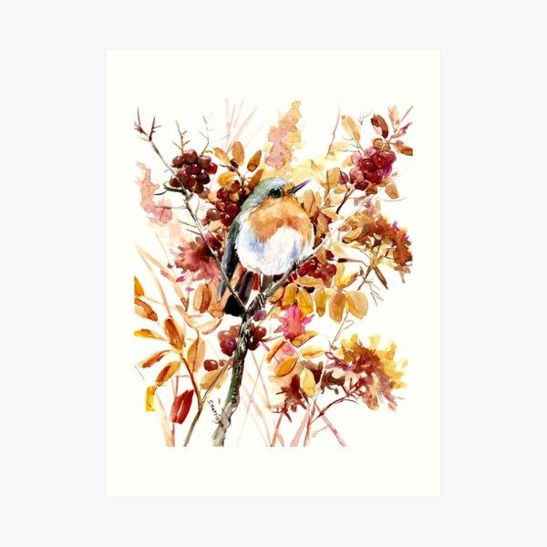 Robin Bird and Fall Colors Art Print