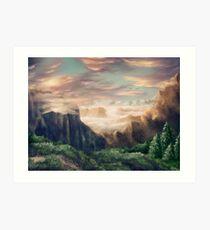 Idyllic fantasy mountain landscape Art Print