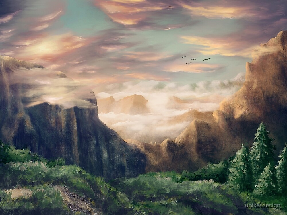 Idyllic fantasy mountain landscape by unikatdesign
