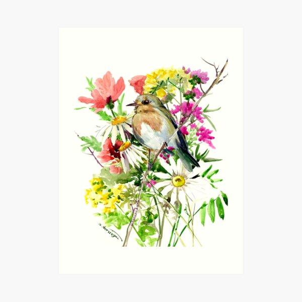 Robin Bird and Summer Flowers Art Print