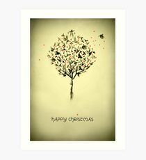 A bird in the hand - Christmas card Art Print