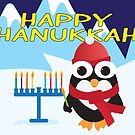 Happy Hanukkah card with Cute penguin by sigdesign