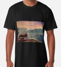 Cold Sea, watercolour painting of rocks and sea waves on the shore. Long T-Shirt