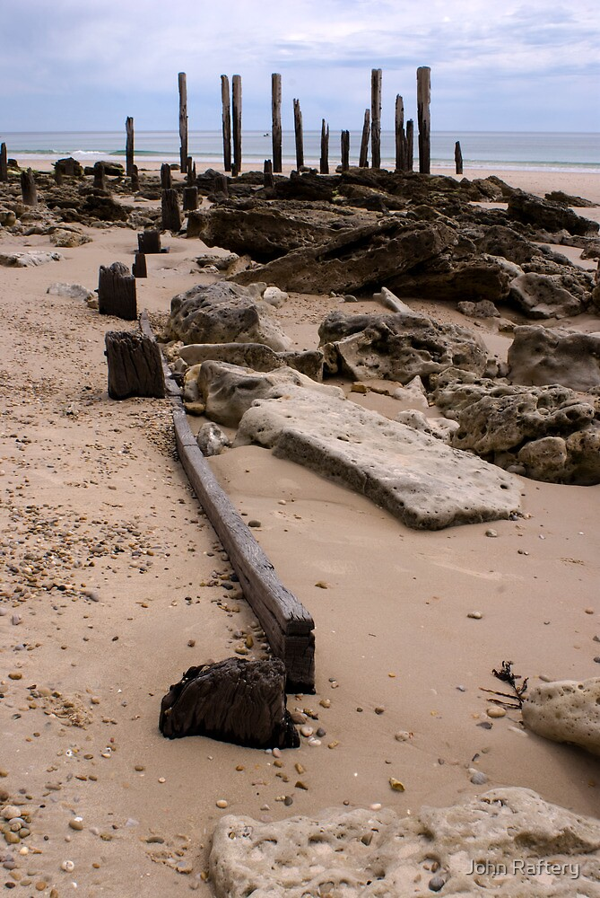 Pt Willunga Jetty Ruins - Overcast Afternoon by John Raftery