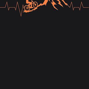 Mountain Bike Heartbeat Art | Cute Bike Heartbeat Art Gift by NBRetail