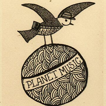 Planet music bird retro illustration by marianabeldi