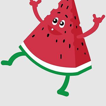 Dancing Watermelon Art | Cool Heart Beats For Fruits Gift by NBRetail