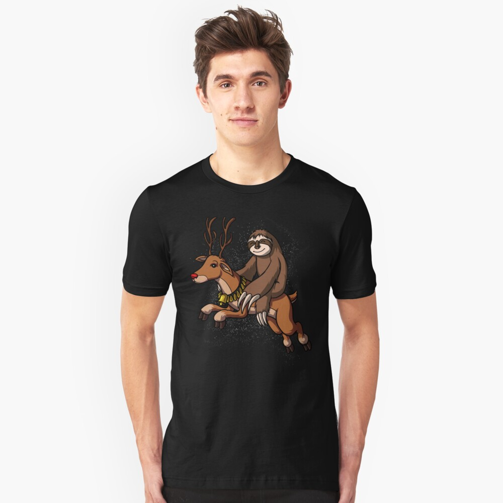 Sloth Santa Riding Reindeer Christmas Funny Unisex T-Shirt Front