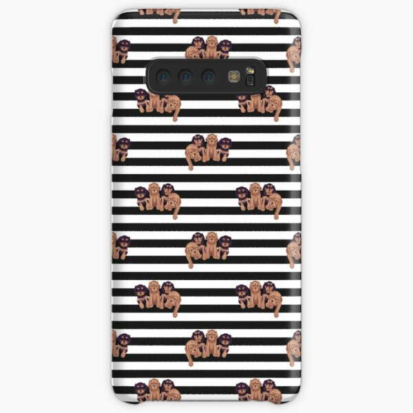 Cavalier King Charles Spaniels on Black and White Stripes Samsung Galaxy Snap Case