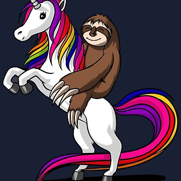 Sloth Riding Unicorn Funny Magical by underheaven