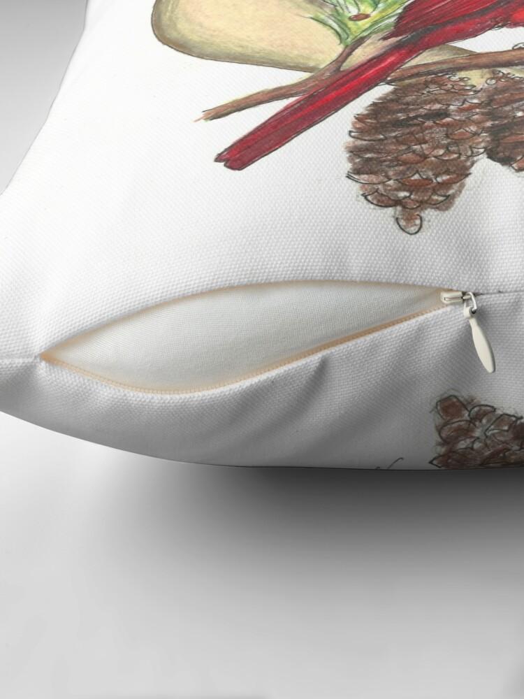 Alternate view of Cardinal - watching over me Throw Pillow