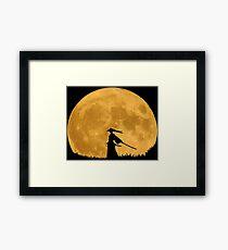 Samurai in the moonlight Framed Print