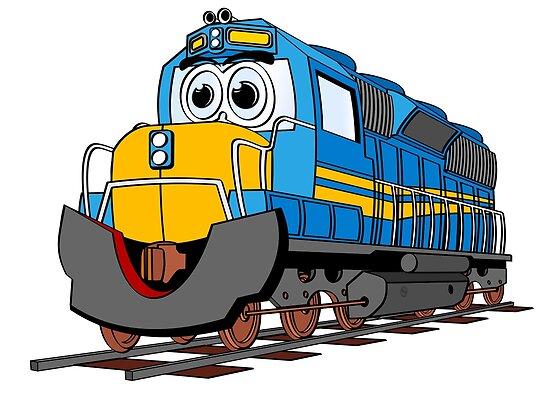 Blue Train Engine Cartoon Poster Von Scott Hayes Redbubble
