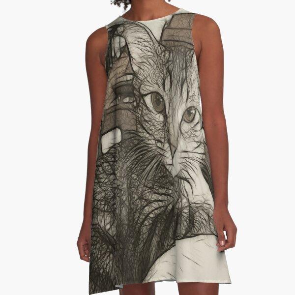 Music Loving Cat A-Line Dress