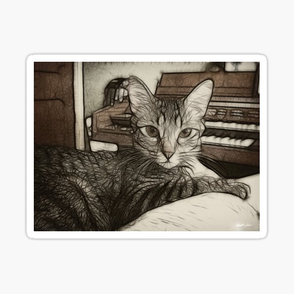 Music Loving Cat Sticker