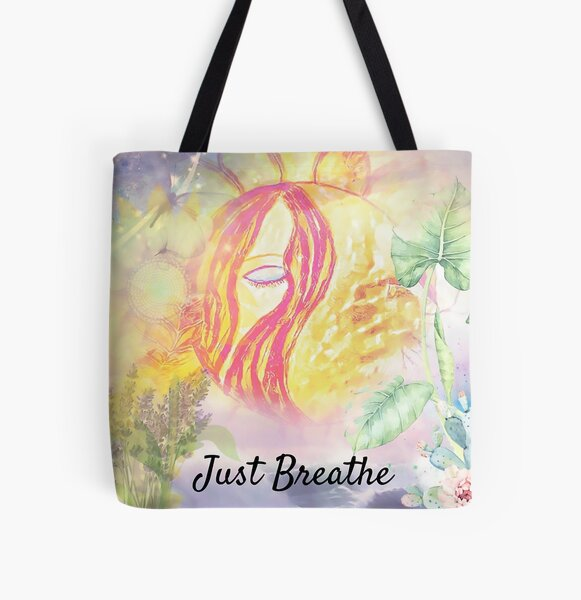 Just Breathe All Over Print Tote Bag