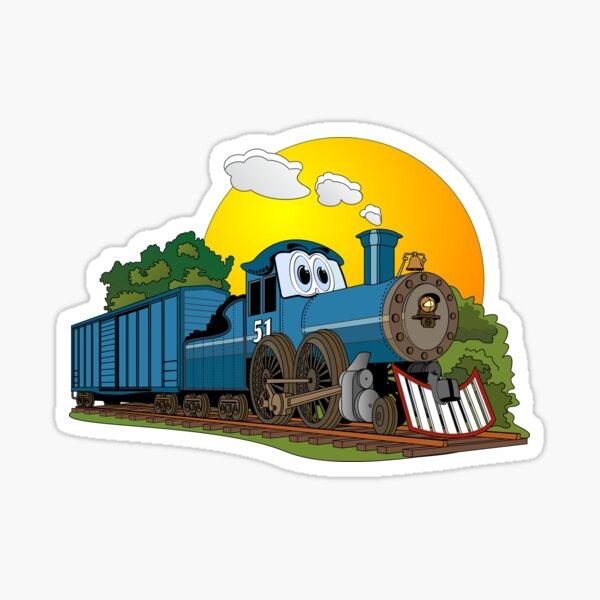 Blue Steam Locomotive Cartoon Sticker