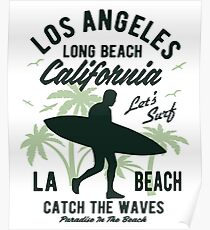 Surfing California Surf Poster